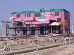 Hurricane Katrina destroyed Sharkheads, Biloxi MS- local favorite tourist spot (I've got pictures of Zach sitting in the sharks mouth Hurricane Damage, Storm Surge, Hurricane Katrina, Tourist Spots, Gulf Of Mexico, Best Places To Travel, Natural Disasters