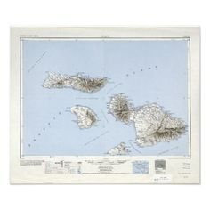 Vintage Maui Hawaii Topographical Map Photo Print - personalize gift idea diy or cyo