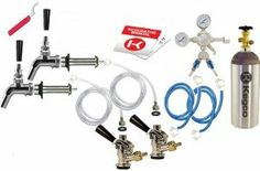 """Kegco 2 Faucet Premium Door Mount Kegerator Kit with 5 lb. Co2 Tank 2PSCK-5T by Beverage Factory. $277.59. Kegco 5lb Aluminum Co2 Tank. Two Perlick 525 Stainless Steel Faucets. Two 4-1/8"""" Long"""" Stainless Beer Shanks. Kegco Premium Dual Product Pro Series Regulator w/ Splitter. Two American """"D"""" System Sankey Lever Handle Couplers. The Premium Door Mount Kegerator Conversion Kit comes with beer parts you will need to successfully convert your refrigerator into a draft be..."""