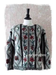 J McLaughlin #Gray Maroon Floral Pure #Wool Full Zip #Sweatercoat Lined Jacket Womens Small #JMcLaughlin