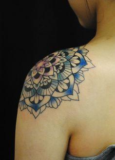 Super fun mandala shoulder cap tattoo. Contact me at TarantulaArts@gmail.com for bookings or inquiries.