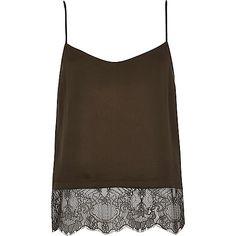 Khaki lightweight satin lace hem cami top £20 RI