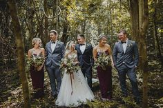 Burgundy bridesmaid dresses with light grey groomsmen suits | Curly Tree Photography