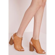 Missguided Zip Front Block Heel Sandals ($43) ❤ liked on Polyvore featuring shoes, sandals, tan, tan shoes, velcro shoes, zip shoes, chunky block heel sandals and chunky sandals