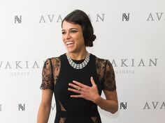 Michelle Rodriguez arrives to visit the Avakian Suite during the 68th annual Cannes Film Festival.  Samir Hussein, Getty Images for Avakian