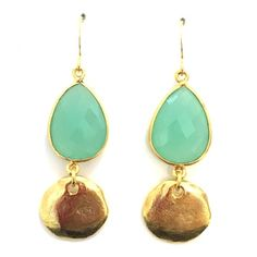 Chalcedony Teardrop and Vermeil Cornflake Earrings | Only available at Peyton William. www.peytonwilliam.com