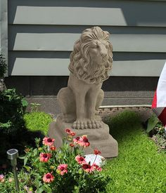 Guardian Lion Statue Sculpture Figure Outdoor Patio Garden Animal King Art Decor