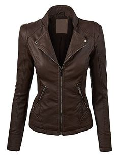 BUY NOW MBJ Womens Perforated Faux Leather Jacket L COFFEE Vroom A classic motorcycle jacket made of out perforated faux leather, metal zippers
