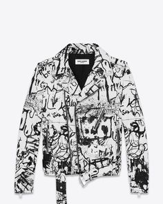 Saint Laurent Special Project Classic Motorcycle Jacket In White And Black Washed Leather In Black & White Leather Jacket Outfits, Men's Leather Jacket, Custom Leather Jackets, Custom Jackets, Painted Leather Jacket, Painted Clothes, Painting Leather, Motorcycle Jacket, Classic Motorcycle