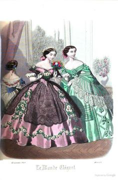 Townsend's monthly selection of Parisian costumes - Le Monde Elégant 1850s Fashion, Victorian Fashion, Vintage Fashion, Illustration Mode, Fashion Illustration Vintage, Historical Costume, Historical Clothing, Historical Dress, Art Deco Fashion