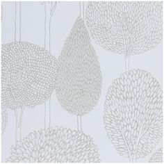 Shop for Wallpaper at Style Library: Silhouette by Harlequin. Outlines of stylised trees with an etched appearance adorn . Harlequin Wallpaper, Accent Wallpaper, Neutral Wallpaper, Tree Wallpaper, Fabric Wallpaper, Wallpaper Roll, Wallpaper Ideas, Bedroom Wallpaper, White Wallpaper