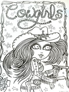 MALBUCH-Shoot-Em Up COWGIRLS Malbuch für Sie Farbe
