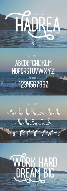 Hadrea . Display Fonts. $12.00