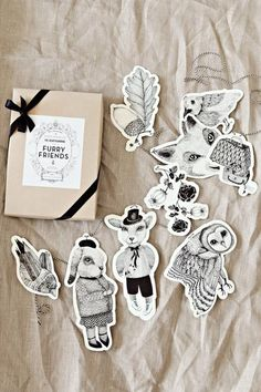 illustration, animals, cute, drawing, pen and ink, packaging, woodland, nature, pattern, detail