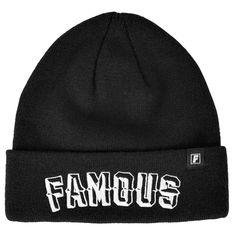 12feeced374 Famous Stars and Straps Prism Text Roll Up Beanie Black