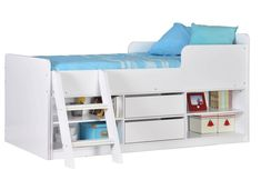 Composed of MDF board in grey, white or sonoma oak effect finishes, with two storage drawers, shelving and easy access ladder, The Felix Sleeper is ideal for bedrooms where space is at a premium. Triple Sleeper Bunk Bed, High Sleeper Bed, Bed Frame With Drawers, Bunk Beds With Drawers, Le Rosey, White Cabin, Single Bunk Bed, Bed Shelves, Shelving