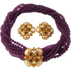 """""""Forever Violet"""" Torsade Necklace Earrings Elizabeth Taylor for Avon $275 #vintagejewelry #elizabethtaylor"""