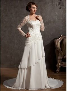 A-Line/Princess Sweetheart Chapel Train Chiffon Tulle Wedding Dress With Lace (002014901) - JJsHouse