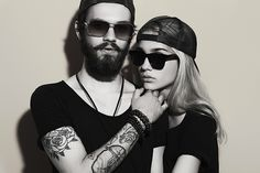 Photo about Fashion beautiful couple together. Tattoo Hipster boy and girl. Bearded young men and blonde in sunglasses. Image of lovers, elegance, hair - 55414955 Hipster Couple, Hipster Style, Timeless Tattoo, Lovers Images, Paar Tattoo, Rich & Royal, La Girl, People Icon, Vetement Fashion