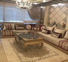 Image may contain: living room, table and indoor Moroccan Decor Living Room, Living Room Modern, Living Room Sofa, Living Room Decor, Home Room Design, Living Room Designs, Arabic Decor, Home Goods Decor, Luxury Sofa
