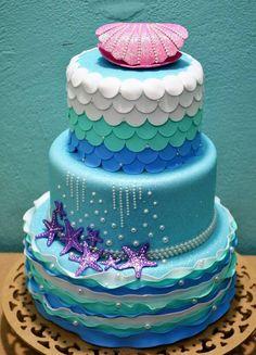 Mermaid Birthday Cakes, Mermaid Cakes, Girl Birthday, Birthday Ideas, Bolo Fake Minnie, Bolo Fake Eva, Bolo Fack, Cupcake Cakes, Cupcakes