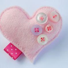 Candyfloss..Felt Heart brooch
