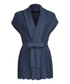 Look what I found on #zulily! Dex Indigo & Dark Denim Wave Tie-Waist Cardigan by Dex #zulilyfinds