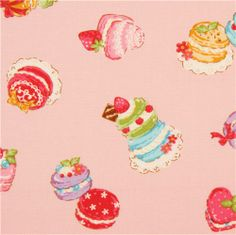 pink Cosmo pastry macaron fabric from Japan