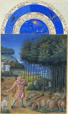 The illustration for November from Les Très Riches Heures du duc de Berry, manuscript illuminated by the Limburg Brothers, c. in the Musée Condé, Chantilly, Fr. Medieval Life, Medieval Art, Walt Disney Pictures, Medieval Manuscript, Illuminated Manuscript, Book Of Hours, Gothic Art, 15th Century, Middle Ages