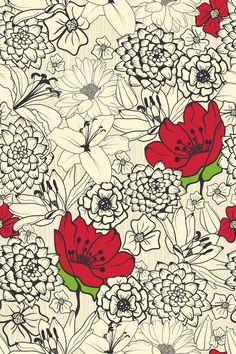 Red Flowers Custom Wallpaper Mural Print by Jw & Shutterstock