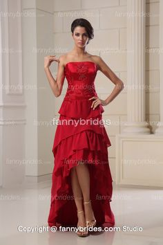 High Low Red Strapless Beading Summer Wedding Gown