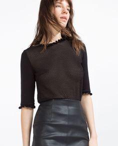HIGH NECK TOP-Short sleeve-T-SHIRTS-WOMAN | ZARA United States