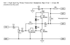 3 Transistor Headphone Amplifier - schematic