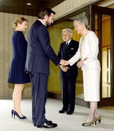 HIM Emperor Akihito and HIM Empress Michiko met with HRH Prince Guillaume, Hereditary Grand Duke of Luxembourg and HRH Princess Stephanie, Hereditary Grand Duchess of Luxembourg at Imperial residence in Japan on 09.10.2014