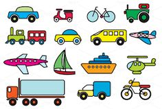 Transportation Colour Vector Graphics This Vector Clip art set includes 15 Transportation Icons in (Ai) illustrator and EPS format.- 1 by Hunger Free Themes Mode Of Transport, Color Vector, Drawing For Kids, Digital Collage, Vector Graphics, Vector Free, Clipart, Art Images, Icon Design