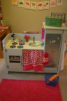 Repurposed changing table - tranformers, transform & move out! mnk mnk mnk...into darling kitchenette!  BARILLIANT!  http://shopbonnenouvelle.blogspot.com/2011/01/repurposed-dream-play-kitchen.html
