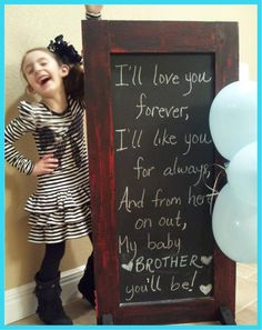 Baby reveal, love this! The book this is from is my fav! Hmm great idea :) I'll love you forever I'll like you for always As long as I'm living My baby brother/sister you'll be. Gender Party, Baby Gender, Maternity Pictures, Baby Pictures, 2nd Baby, Baby Boy, Everything Baby, Baby Store, Reveal Parties