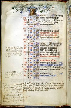 Record of the birth of Prince Henry (later Henry VIII) in Margaret Beaufort's Book of Hours. Margaret was Henry's paternal grandmother. She frequently recorded dates of personal and political interest in her Book of Hours alongside a calendar of Church festivals.