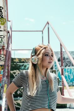 Ankit Pastel Teal Floral Headphones