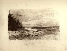 """nice Pencil drawing """"The Sweep"""" by Andrew Wyeth 1967 Landscape Drawings, Landscape Art, Landscape Paintings, Landscapes, Pencil Drawings, Art Drawings, Figure Drawings, Andrew Wyeth Art, Graphite"""