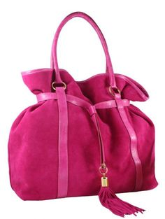 Love This Suede Bag in hot pink! Love, love, love this hot pink bag! Branded Handbags Online, Handbags Online Shopping, Fashion Handbags, Fashion Bags, Fashion Accessories, Pink Love, Hot Pink, Italian Handbags, Pink Lingerie