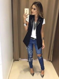 How to wear fall fashion outfits with casual style trends Blazer Outfits, Fall Outfits, Casual Outfits, Cute Outfits, Sleeveless Blazer Outfit, Casual Friday Work Outfits, Look Fashion, Fashion Outfits, Womens Fashion