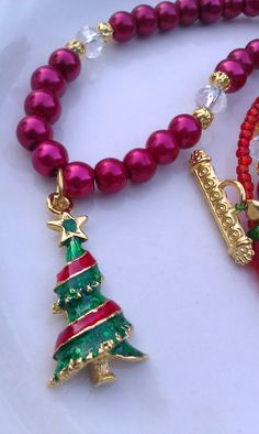 one of a kind...Christmas tree gold enamel charm red glass pearl by DoubleDzBeadz, $12.00