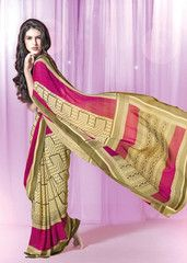 Buy #pink and #cream #colour #Georgette#saree #sari from #yellowfashion.in