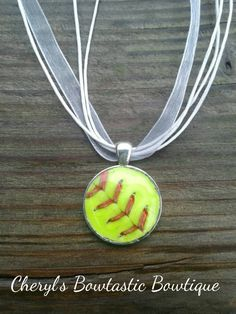 598e23801 Real Sports necklace with your choice of chain and sports ball by Cheryl s  Bowtastic Bowtique