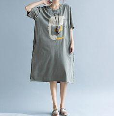 Gray/ Army Green Large size dress long cotton T-shirt by MaLieb