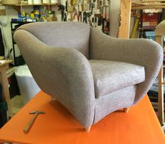 """Tricky getting the curves right but I'm about there with this modern """"Balzac-style"""" armchair from Henderson Russell l think this range was called Tosca judging from the information I could get off the frame and it looks like they don't make this shape any more. This piece is now recovered in #zoffany#RomanyGrey for @nicolaholdendesigns"""
