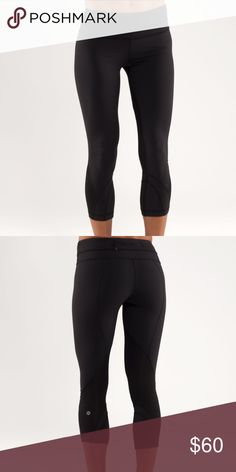 Lululemon Run Inspire Crop Authentic black crop tights by Lululemon. Made with Luxtreme fabric and LYCRA fiber for shape retention. Includes mesh fabric panels to help you cool off after a hard workout. Zipper pocket in the back to hold valuables and 2 small internal pockets for keys or credit cards. In very good condition. As with any lulu products, there is some minor pilling. These are also discontinued! lululemon athletica Pants Ankle & Cropped