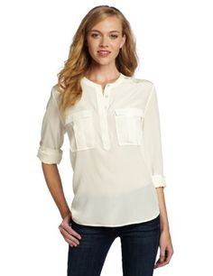 7 For All Mankind Women`s Double Pocket Henley Shirt $96.39