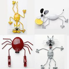 Spoon art-These certainly turned out better than that last thing I bought. Crafts From Recycled Materials, Recycled Gifts, Recycled Art, Repurposed, Hobbies And Crafts, Diy And Crafts, Crafts For Kids, Arts And Crafts, Fork Art